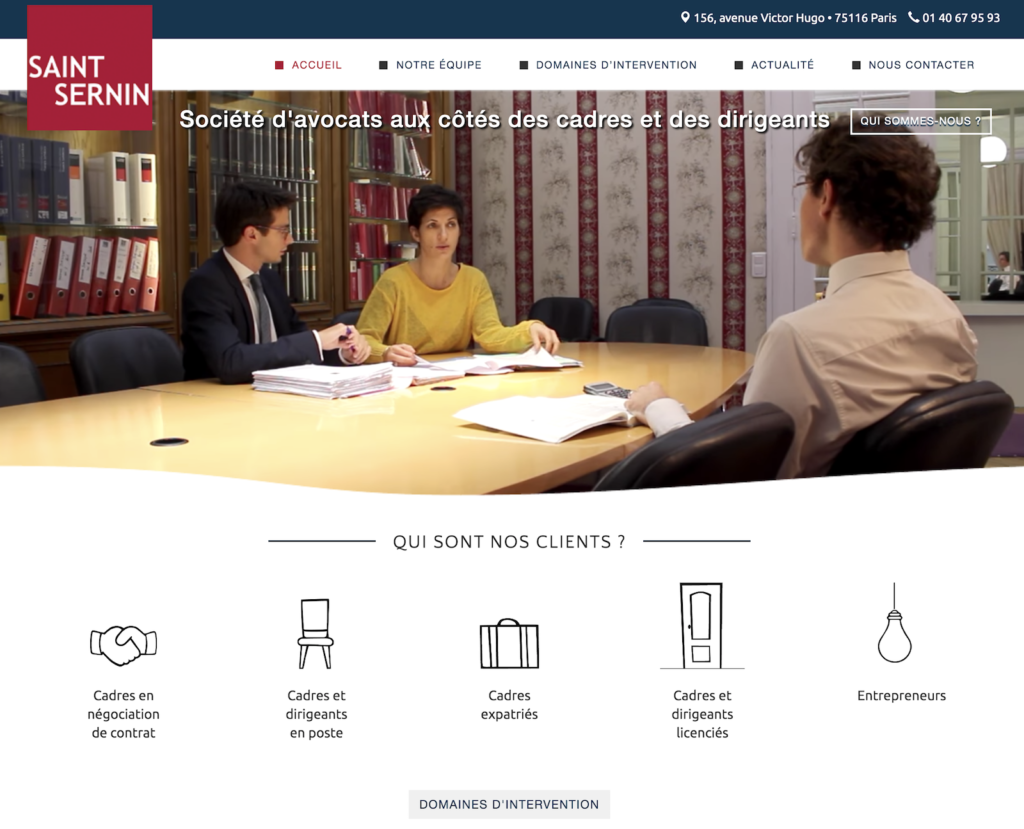Site internet du cabinet Saint Sernin Avocats